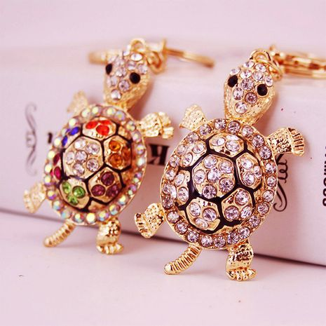Korean cute diamond crystal cartoon turtle car keychain NHAK247593's discount tags