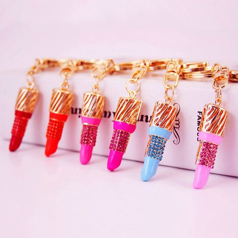 diamond-studded lipstick shape ladies car keychain  NHAK247595's discount tags