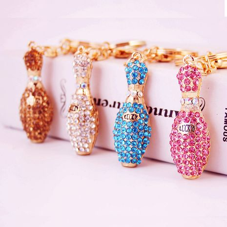 diamond-studded crystal bowling shape car key chain NHAK247596's discount tags