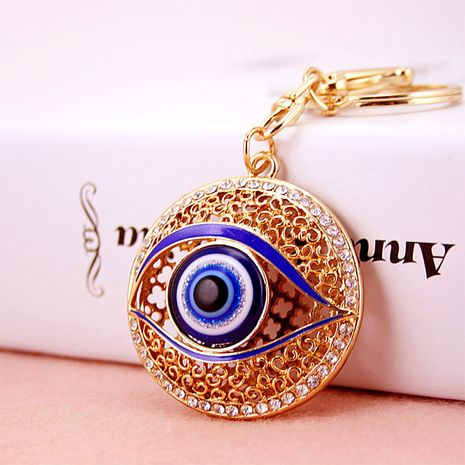 Korean diamond-studded Devil's Eye Metal Pendant Accessories car Key Chain  NHAK247603's discount tags