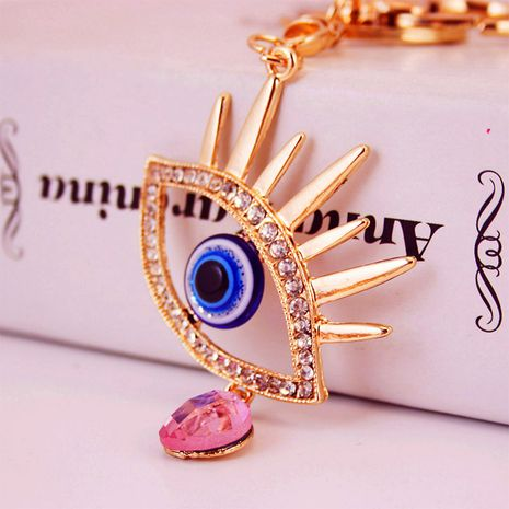 diamond-studded angel's tears shape ladies bag accessories metal pendant key chain  NHAK247604's discount tags