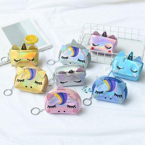 Corée nouveau laser semi-circulaire licorne portefeuille dames créatif carré porte-monnaie en gros NHAE247629's discount tags
