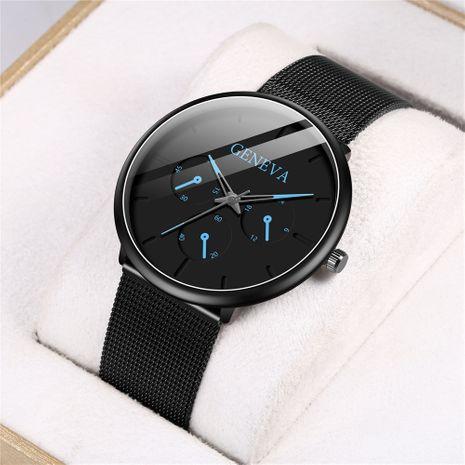 Reloj de cuarzo de tres ojos para hombre, reloj de correa de calendario con puntero de color de moda, venta al por mayor NHHK247637's discount tags