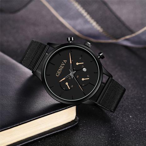 Reloj con cinturón de malla de tres ojos, reloj de cuarzo para hombre, calendario con puntero de color, venta caliente, reloj para hombre NHHK247646's discount tags