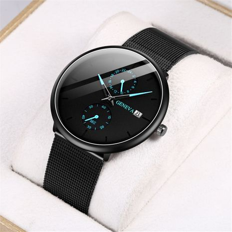 Reloj de cuarzo para hombre, calendario de puntero de moda, reloj de correa de malla NHHK247647's discount tags