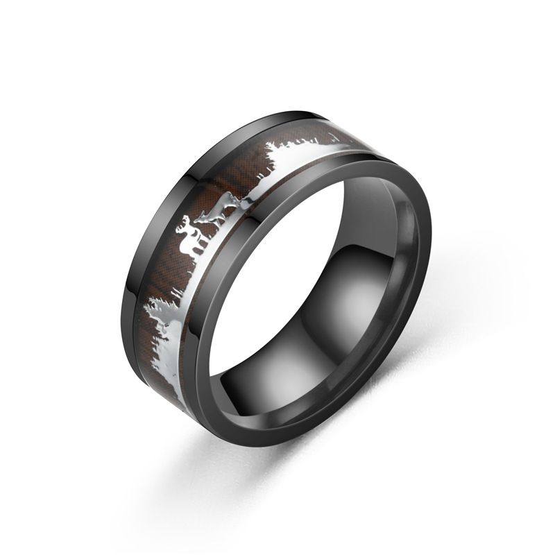 Mode neue schwarze Holzmaserung Hirsch Ring Grohandel NHTP247657