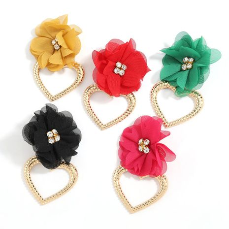 exaggerated big heart-shaped alloy lace flower earrings wholesale NHJE247698's discount tags