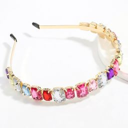 alloy diamond-studded square glass diamond headband women's super flash headband wholesale NHJE247699