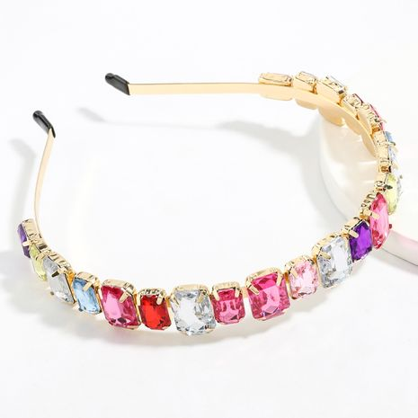 alloy diamond-studded square glass diamond headband women's super flash headband wholesale NHJE247699's discount tags