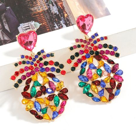 Fashion Color Alloy Rhinestone Pineapple Heart Shaped Glass Diamond Exaggerated Earrings wholesale NHJE247702's discount tags