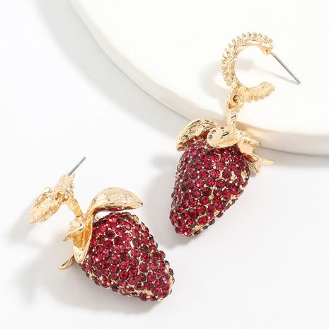exaggerated big summer fruit style alloy diamond rhinestone strawberry earrings wholesale NHJE247708's discount tags