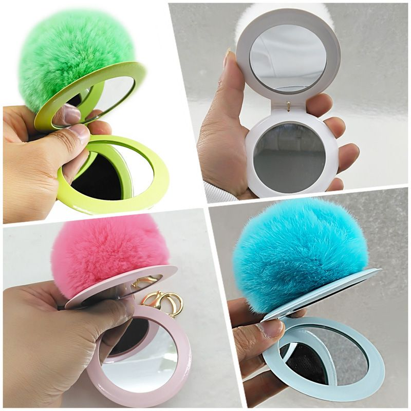 New Makeup Mirror Real Rex Rabbit Hair Ball Mirror PVC Cover Keychain  NHAP247337