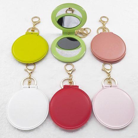 Mode multicolore pliant petit miroir rond portable double face portable miroir de maquillage porte-clés NHAP247331's discount tags