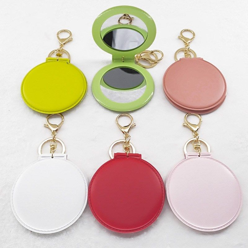 Fashion multicolor folding small round mirror portable double-sided portable makeup mirror keychain  NHAP247331