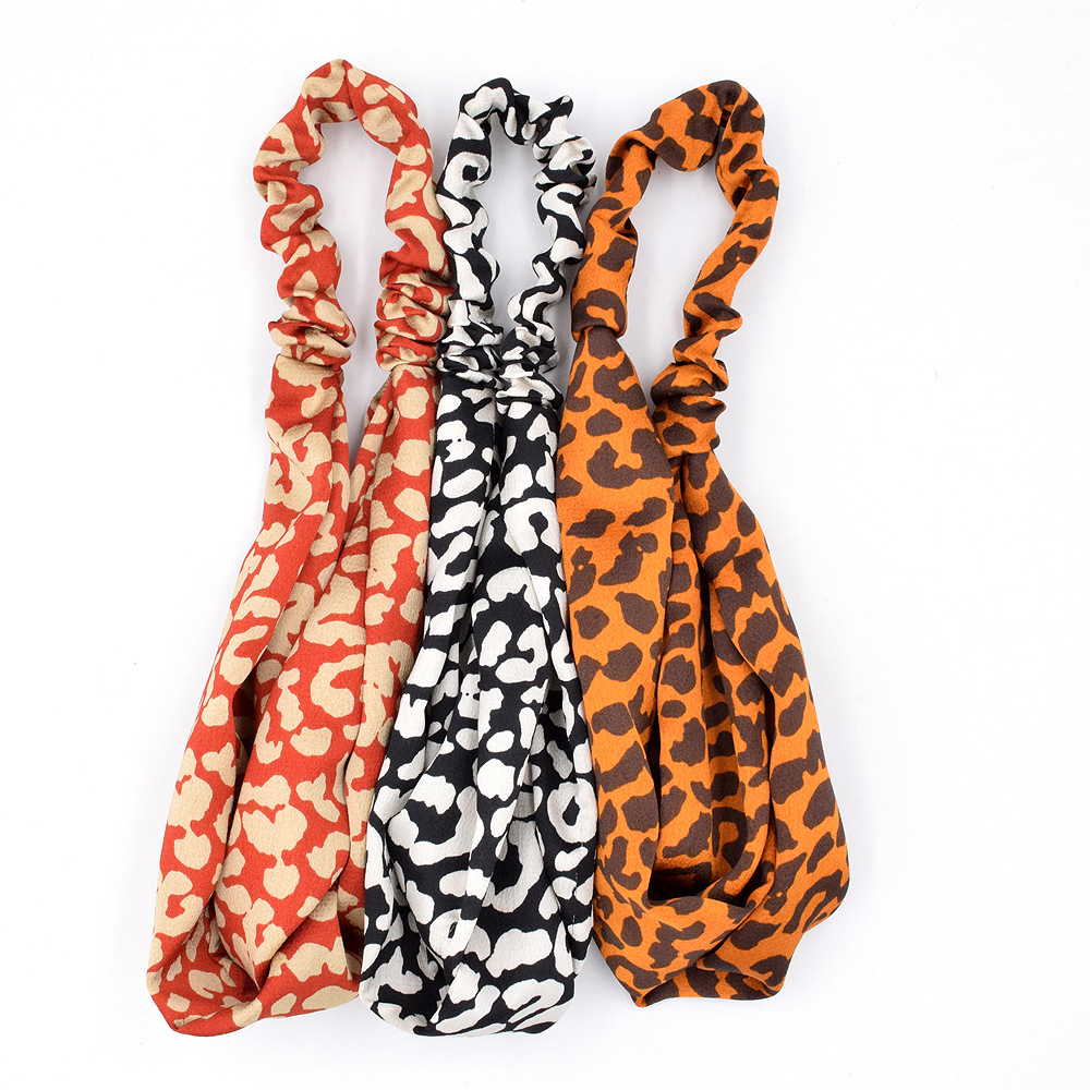 New leopard print women face wash street exaggerated fabric headband wholesale NHCL247481