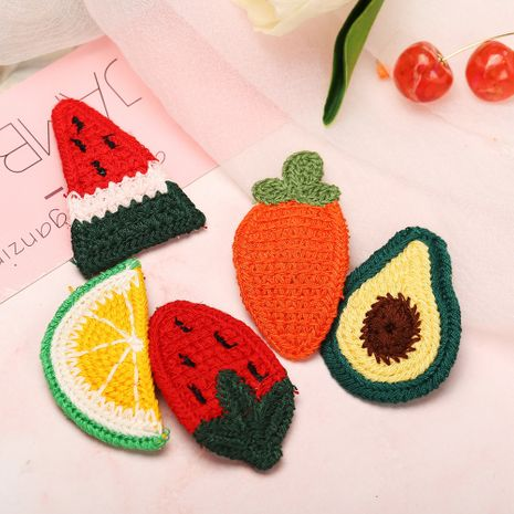 Fruit knitted Korea girls heart twist wool woven bangs clip hairpin jewelry NHPJ247723's discount tags