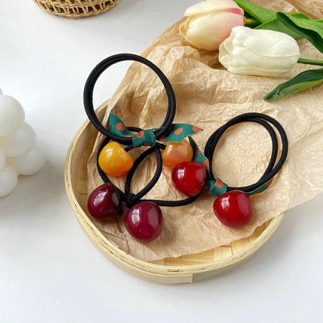 Cherry women's rubber Korean cute bow hair rope head flower hair ring  NHPJ247732's discount tags