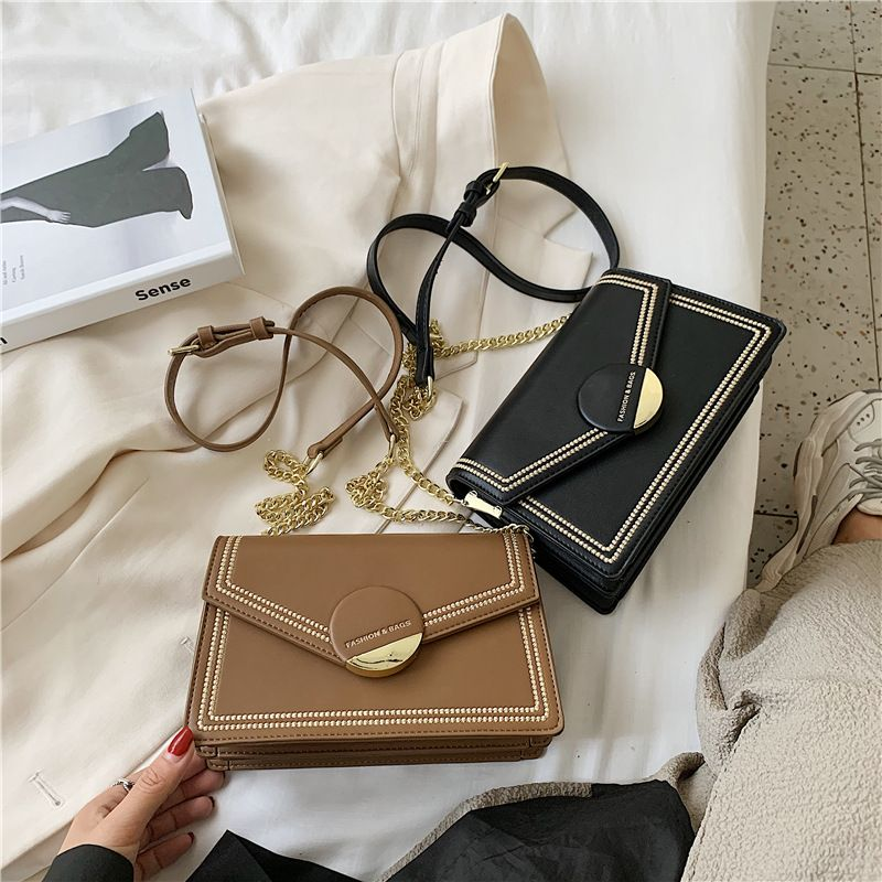 new trendy fashion oneshoulder square texture messenger allmatch chain small womens bag  NHJZ247866