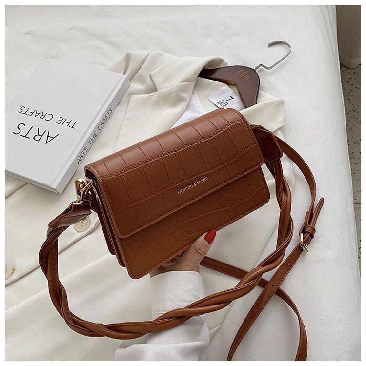 new trendy Korean wild oneshoulder messenger fashion casual small square crocodile pattern womens bag  NHTC247988