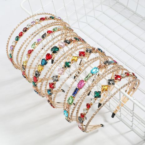 new alloy diamond-studded rhinestone geometric glass diamond three-layer headband  NHJE247990's discount tags