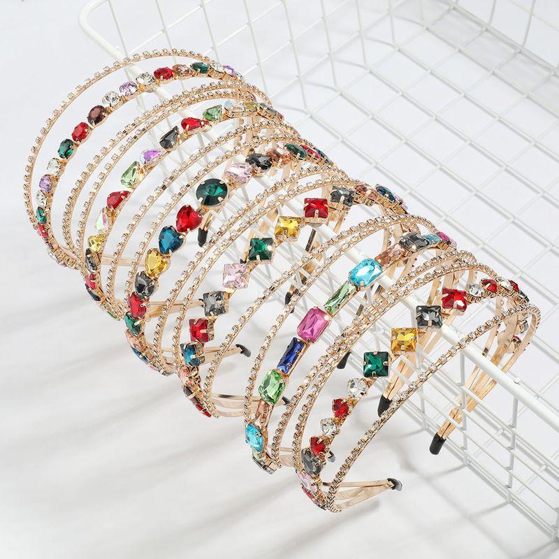 new alloy diamond-studded rhinestone geometric glass diamond three-layer headband  NHJE247990