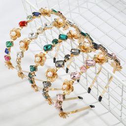 Moda accesorios para el cabello de las mujeres de la aleación de la flor de la perla de cristal tachonado de diamantes NHJE247991