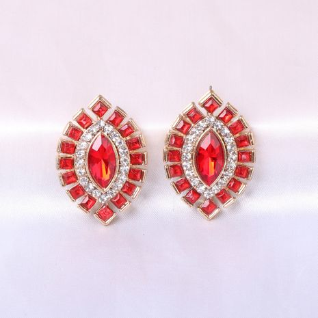 Fashion Exaggerated Geometric Big New Retro Crystal Olive alloy women's Earrings NHJJ247997's discount tags