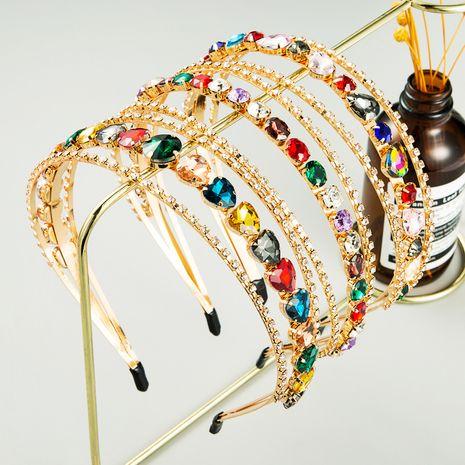Nuevo y simple patrón de diamantes de imitación de diamantes llenos de múltiples capas accesorios para el cabello coreanos diadema nupcial NHLN248000's discount tags