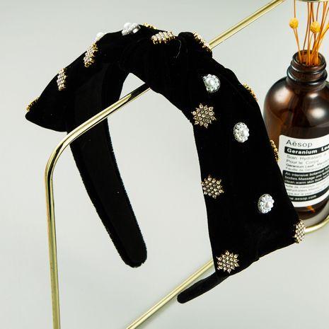 Korean jennie black gold velvet bow snowflake rhinestone headband NHLN248001's discount tags