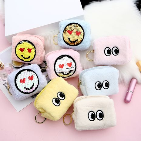 Fashion student cute eyes plush sequin expression cartoon storage coin purse wholesale NHAE248008's discount tags