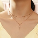 wholesale retro short cross wild alloy clavicle chain necklace for women NHNZ248015