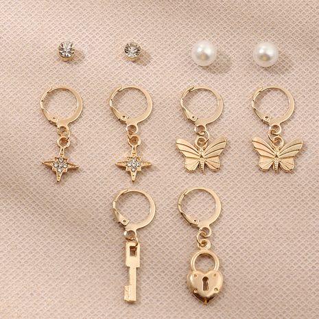Combinaison de boucle d'oreille de papillon de perle d'étoile simple de mode pour des femmes NHNZ248022's discount tags