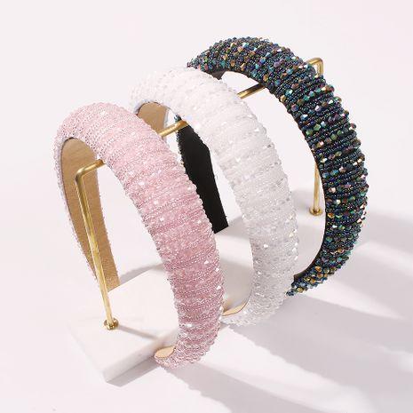 Fashion handmade beaded headband women's big thick sponge wide brim hot-saling headband NHMD248028's discount tags