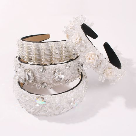 boutique wide-brimmed alloy bridal diamond beaded hairband hair accessories for women hot sale NHMD248029's discount tags