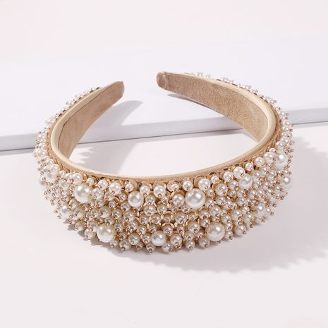 Fashion trend alloy wide-brimmed pearl sweet women's headband hair accessories NHMD248030's discount tags