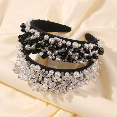 fashion diamond-studded wide brim pearl bridal headwear wholesale NHMD248034's discount tags