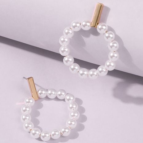 Fashion trend sweet and delicate circle pearl earrings for women wholesale NHMD248040's discount tags