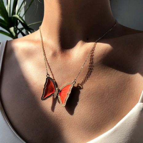 Fashion butterfly hot-selling exaggerated alloy point diamond alloy pendant necklace for women wholesale NHMD248046's discount tags