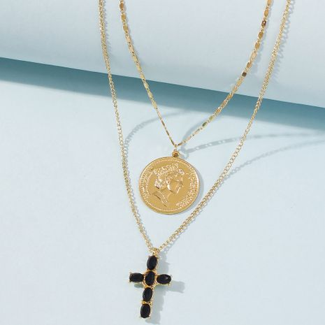 hot-saling water wave chain punk style coin portrait simple cross multi-layer long alloy pendant necklace NHMD248047's discount tags