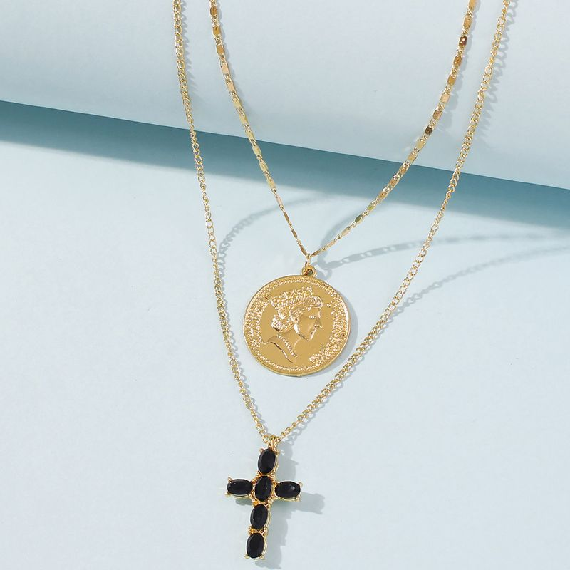 hot-saling water wave chain punk style coin portrait simple cross multi-layer long alloy pendant necklace NHMD248047
