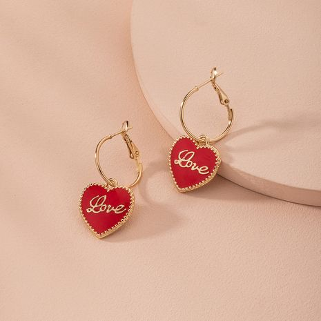 Korean fashion red love letter sweet simple women's alloy earrings wholesale NHAI248057's discount tags
