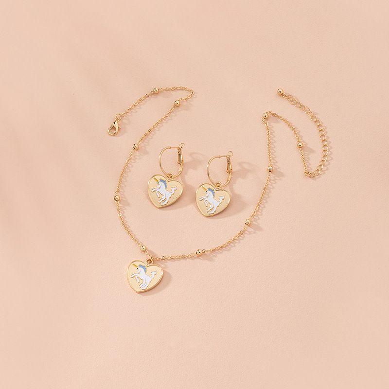 new fashion cartoon unicorn alloy necklace earrings set wholesale  NHAI248065