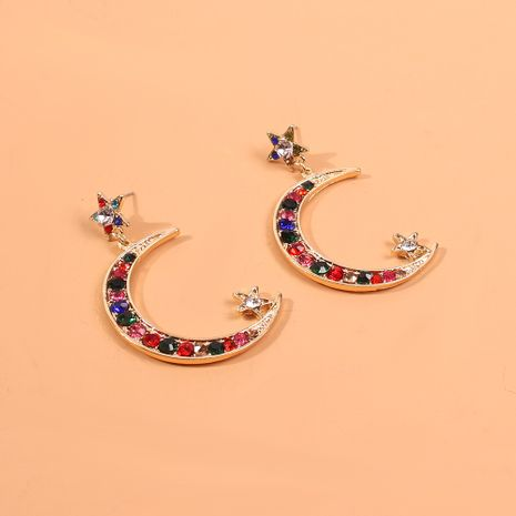 Fun and sweet moon alloy wild colored diamond earrings for women NHMD248081's discount tags