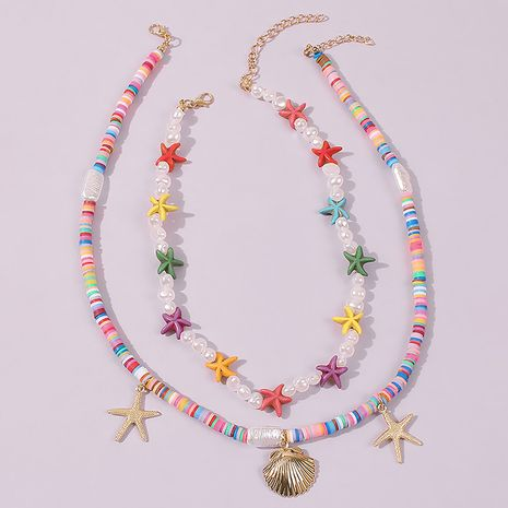 Bohemian ethnic style multi-layer necklace clavicle chain for women NHMD248190's discount tags