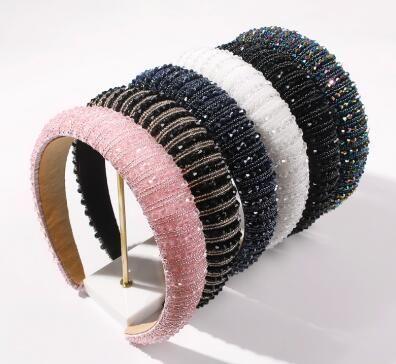 fashion handmade rice beads women thick sponge crystal headband NHMD248187's discount tags
