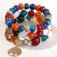 Tendencia simple árbol de la vida de metal perlas de caramelo pulsera de moda multicapa NHSC248191