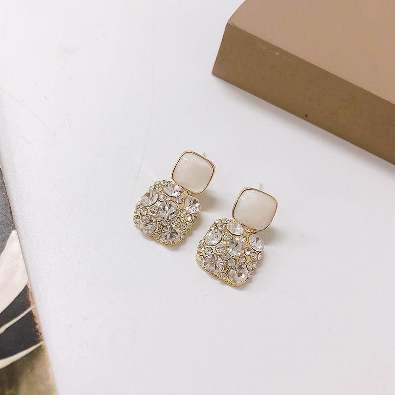 Geometric Korean fashion exquisite silver needle square diamond earrings wholesale NHWF248088