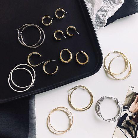 mode de style chaud grand cercle aiguille d'argent boucle d'oreille géométrique rétro en gros NHWF248093's discount tags