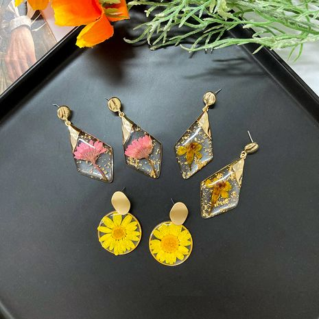 Fashion geometric exaggerated flower earrings 925 silver needle dried flower amber earrings wholesale NHWF248098's discount tags