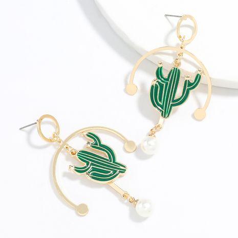 design sens créatif alliage goutte d'huile incrusté de perles boucles d'oreilles cactus en gros NHJE248101's discount tags